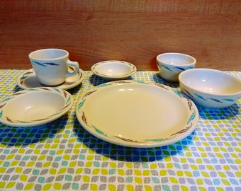 Full Set Vintage Homer Laughlin Retro Design Leaf or Feather Aqua Diner Restaurant Ware Dishes Several & Diner dishes | Etsy
