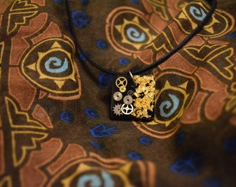 Gears and Gold Flake Pendent