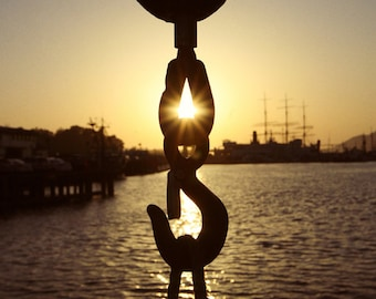 Hook on a pier at sunset digital download (fine art photography)