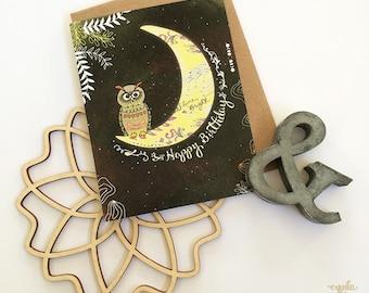 Owl Greeting Card, Owl Greeting Cards, Owl & Moon Card, Owl Birthday