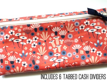 Cash budget wallet with dividers | wildflowers on coral matte laminated cotton