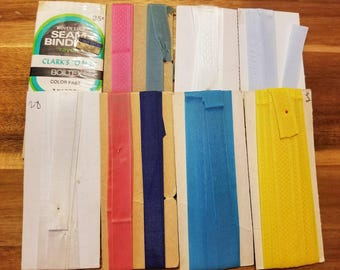 Vintage Seam Binding, Lot of 10, Rayon, Sewing, Hem Edges, Staying Seams