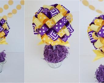 GRADUATION PARTY Centerpiece / LSU Tigers Centerpiece in Purple & Gold / College dorm decorations / College graduation gift