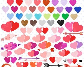 Valentine hearts Mega pack, Heart clipart, Hearts, commercial use, vector graphics, digital clip art, digital images - AMB-1146