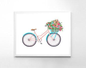 Floral Wall Decor, Bicycle Print, Watercolor Wall Art, Painting Print, Bicycle Illustration, Nursery Bicycle Art, Digital Bike Print