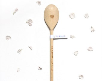 Unique Mother's Day Gift, Engraved Wooden Spoon, Happy Mother's Day, Gift for Mum, Best Mum with Heart