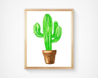 Green Watercolor Cactus Print, Desert Art Print, Arizona Wall Art, Southwestern Wall Art, Nature Art Print, Cowboy Nursery Decor