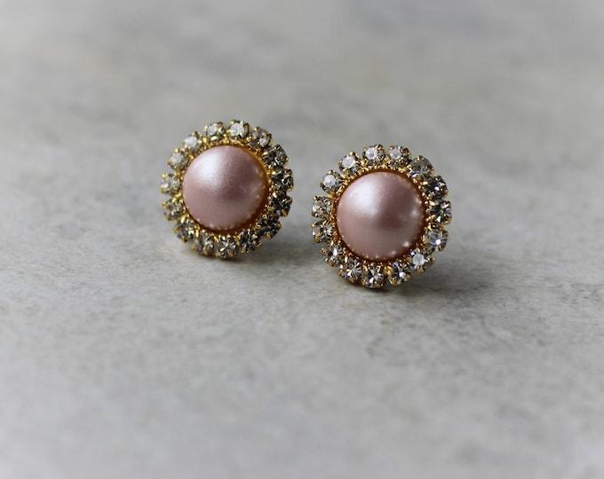 Blush Earrings, Bridesmaid Earrings, Blush Earrings for Wedding, Blush and Gold Wedding Jewelry, Bridesmaid Gift, Blush Pink Pearl Earrings