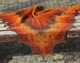 Lacetuch, stole, scarf, shoulder towel, hand knitted, shawl