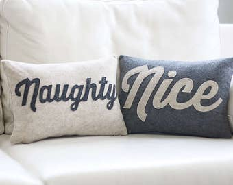 "NEW! throw pillow, decorative pillow, ""Naughty & Nice"" 10X14 inch pillow set, holiday decor, NEW!"