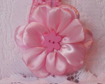Pink petal flower, child's flower with headband