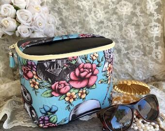 Train Case, Toiletry, Makeup/Shaving Kit, Wedding Gift, Birthday, Star Wars, Boxy, Jewelry Organizer, Travel Bag, Trinket, Blue, Floral