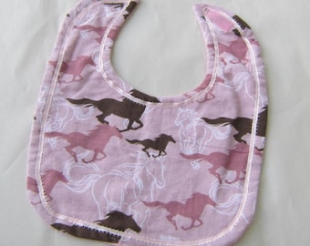 HORSES Pink Color Cotton Fabric Oversize Baby Bib w/Hook & Loop Closure