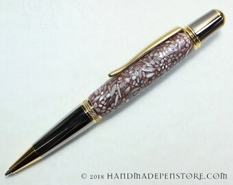 WEDDING RICE acrylic pen with Black Titanium/Titanium Gold in Sierra style
