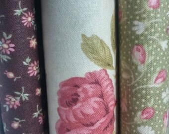Shabby Chic, Garden Party fabric with roses , Fat Quarters