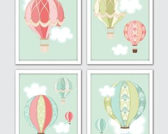 Hot Air Balloon Nursery Prints, Set Of 4, Gender Neutral Nursery Decor, Travel Theme Nursery, Adventure Art Gift, Adventure Nursery