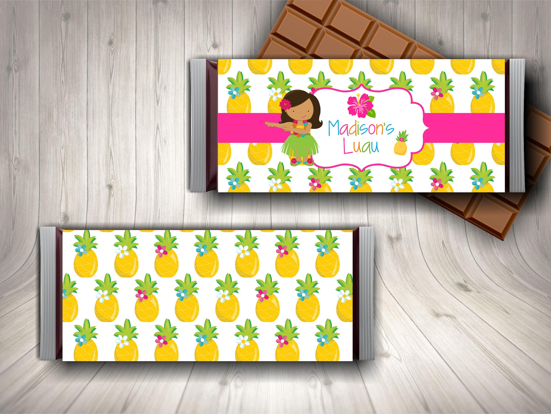 luau candy bar wrapper luau chocolate bar personalized luau