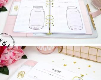 Printed A5 Savings tracker, Money saving jar, Budget planner, Finance planner, A5 Planner inserts, Planner refill