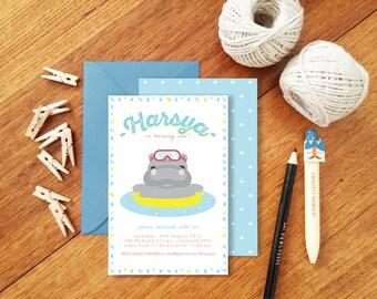 Swimming Hippo Birthday Invitation | Custom Invitation | Children Invitation | Hippopotamus Party Invitation | DIY Invitation