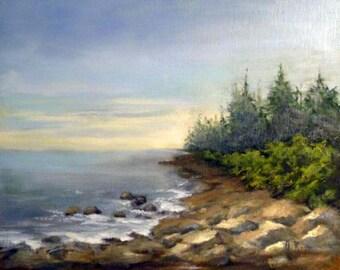 Acadia Shore 8x10 oil painting by Alexandra Kopp