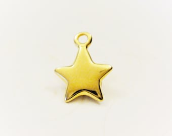 vermeil, 18k gold over 925 sterling silver Star charm - shiny vermeil charms, dreamy star, gold star charm,llittle star, gold shiny star