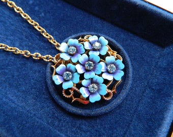 "Vintage Gold Blue Violet Flower Brooch Necklace Forget Me Knot Enamel Rhinestones Original Display Gift Box 26"" Chain NIB New Old Stock AVON"
