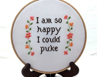 Sarcastic embroidery finish, humorous cross stitch, funny wall hanging, snarky home decor, sassy needlepoint, handmade home accent