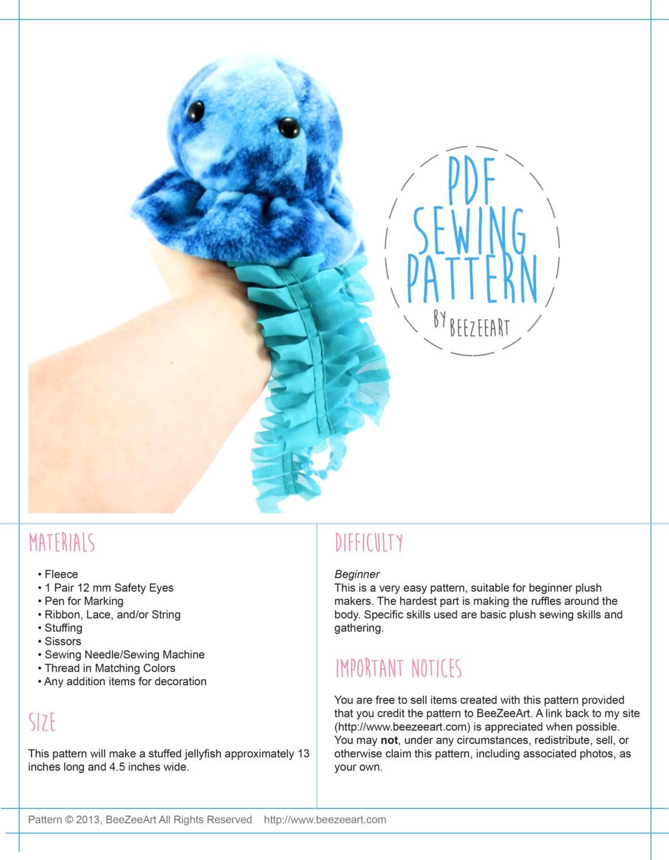 Jellyfish stuffed animal sewing pattern pdf pattern digital zoom jeuxipadfo Image collections