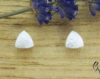 Earrings Silver 925 /-, mini triangle textured paper, handmade