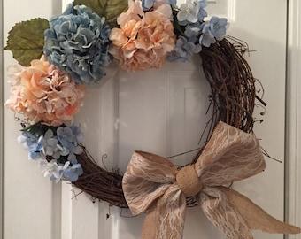 Pastel|Blue|Orange|Lace|Burlap|Bow|HandmadeWreaths|