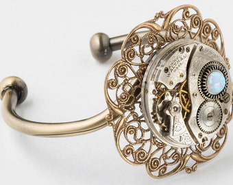 Cuff Bracelet, Steampunk Bracelet with Vintage Silver Waltham Pocket Watch Movement and White Opal on Gold Filigree, Steampunk Jewelry Gift