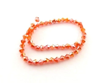 Beads Hyacinth Red AB Chinese Crystal Bicones 4mm
