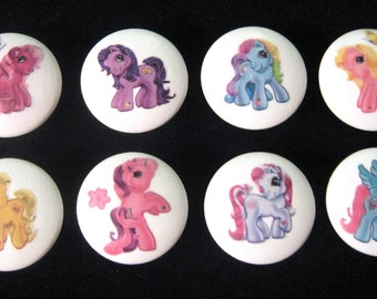 Set of 8 -  DESIGN #1-  My Little Pony - Drawer Knobs for Nursery, Girl's Room