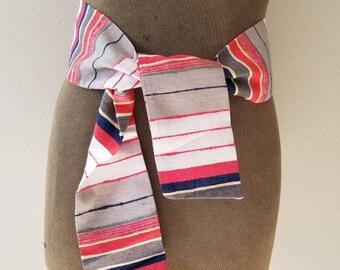 Raw Silk belt, vintage, tie sash scarf, stripes