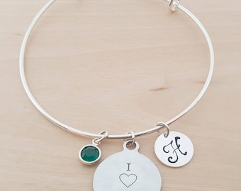 I Love Crossfit Bangle - Silver Adjustable Bangle - Personalized Initial Bracelet - Swarovski Crystal Birthstone Jewelry - Gift For Her