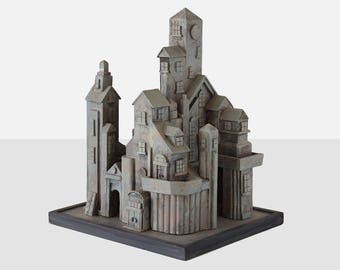 castle sculpture,  folk art castle, geoffrey vollers folk art castle, castle model, folk art model , maine folk art,  folk art sculpture