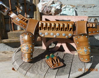"""Gun Leather - The """"Lil, Doggie"""" Competition Rig - Dual Holsters - Custom Rig - Shotgun Shell Slide"""