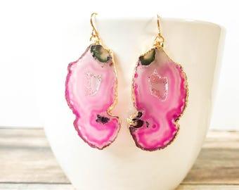 Pink Agate Slice Earrings - Pink Geode Slice Earrings - Agate Jewelry Gift for Her - Boho Jewelry Fall Jewelry