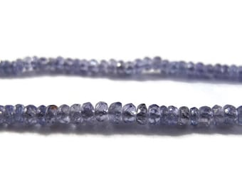 Natural Tanzanite Beads, Tiny Blue Faceted Rondelles, 2mm - 3mm, 25 Count, Twenty Gemstones, December Birthstone (Luxe-Ta5)