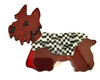 Beautiful scotch terrier scottie dog pin brooch made from acetate
