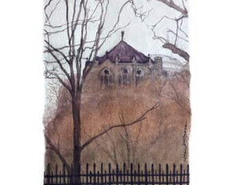 Art Print Cathetral of St. John the Divine Watercolor of Harlem NYC
