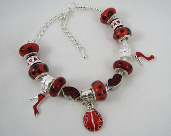 Mother's day gift for woman : charms bracelet with wonderful red silvered beads, ladybug, red dots  beads