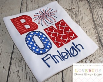Custom Kids BOOM Fireworks Shirt with Name ~ July 4th Shirt ~ Monogrammed, Applique, Embroidery ~ Summer Vacation!
