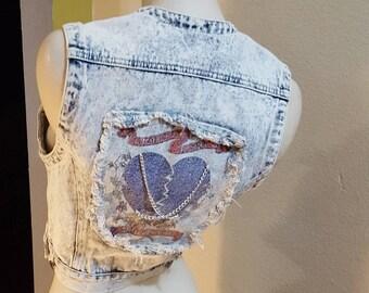 Vintage 80s Squeeze ACID Wash DENIM Jacket Vest w/ Broken Heart in Chains Distressed Look