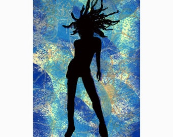 Medusa ACEO print of original ink drawing, black silhouette on blue green background