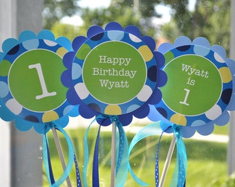 3 Centerpiece Sticks - Boys 1st Birthday - Blue Polkadots - Personalized Birthday Party Decorations