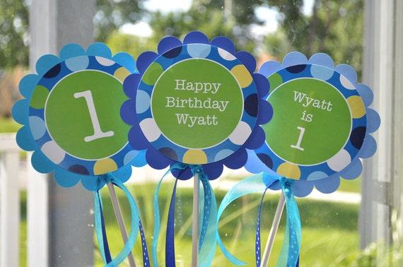 Boys 1st Birthday Centerpiece Sticks Party Decorations Table