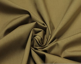 Fabric polyester cotton poplin brown opaque smooth crease-resistant
