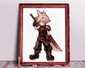 Final Fantasy Cross Stitch Pattern, Cloud, Opera Omnia, Final Fantasy 7, Dissidia, Embroidery, Modern, Cute, Gaming, PDF, Instant Download