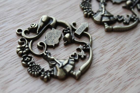Jewelry Supplies- 2 pieces. 42mm Antique Bronze Alice in Wonderland Wreath Charm Pendant - Little Laser Lab
